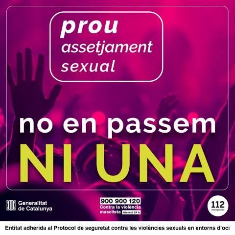 Ens adherim al Protocol de seguretat contra les violències sexuals en entorns d'oci